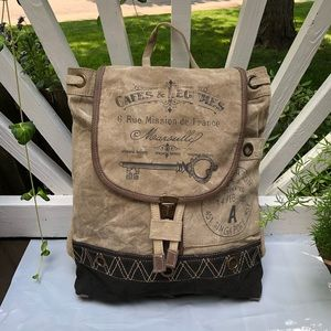 Canvas large Backpack Vintage Style upcycled
